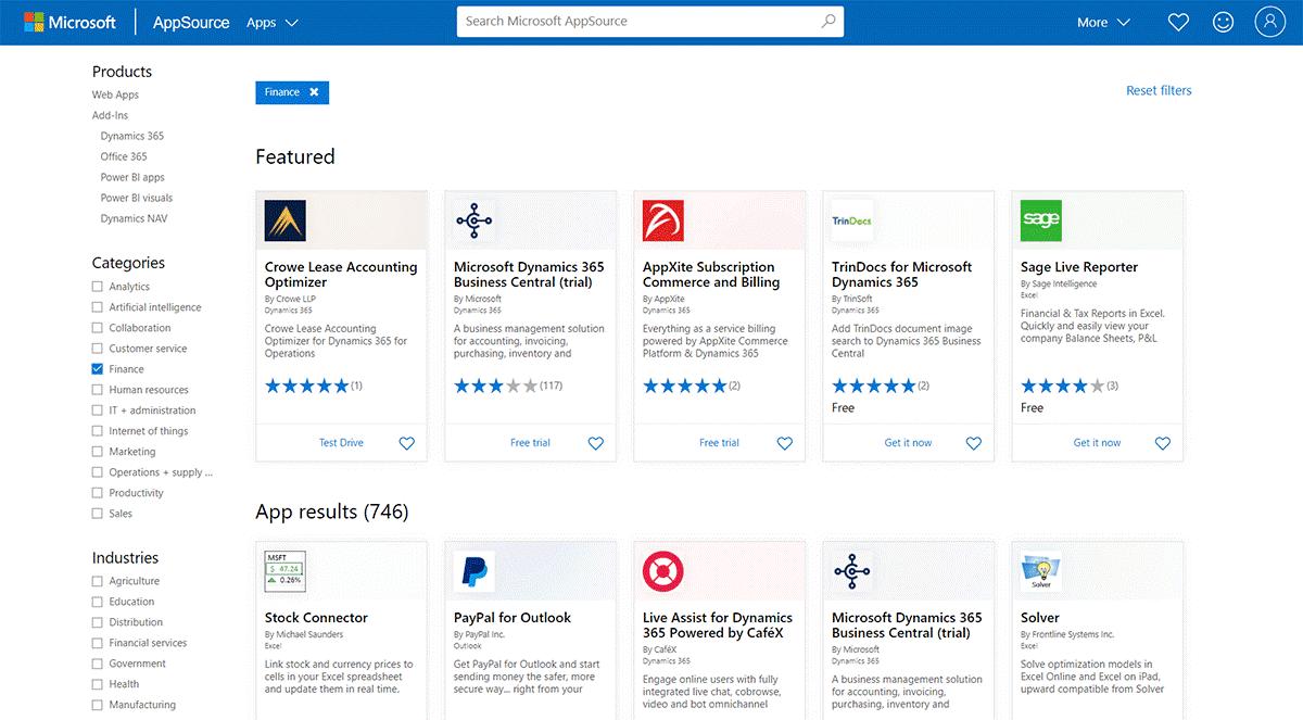 Microsoft AppSource Dynamics 365 app